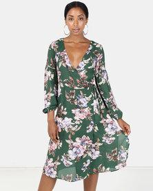 Brave Soul Long Sleeve Dress Green Floral Print