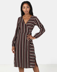 Brave Soul Long Sleeve Dress Black Stripe
