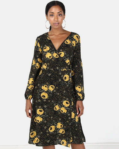 Brave Soul Long Sleeve Dress Black Marigold Print
