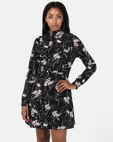 Brave Soul High Neck Dress With Ruffle Detail Black Floral Print