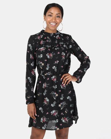 Brave Soul Long Sleeve Dress With Pleat Detail Black Floral
