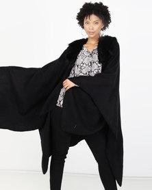 Brave Soul Poncho With Faux Fur Black