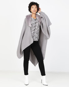 Brave Soul Poncho With Faux Fur Grey