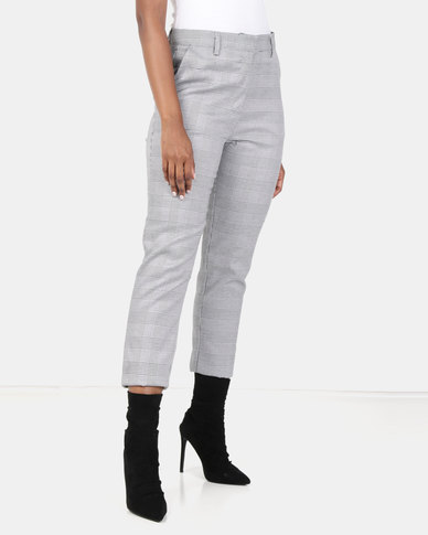 Brave Soul Checked Trousers Grey