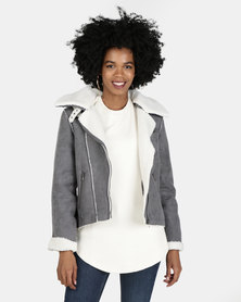 All About Eve Navigator Shearling Jacket Charcoal