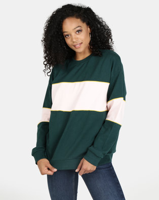 All About Eve Beau Oversized Jumper Green & Pink