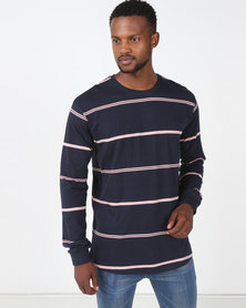 Chester St Topography Long Sleeve Tee Navy/Pink