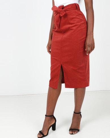 Utopia Cord Pencil Skirt Terracotta