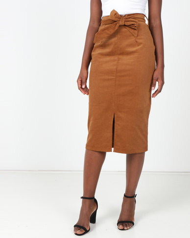 Utopia Cord Pencil Skirt Hazel