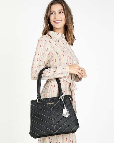 Blackcherry Bag Hereringbone Tweed Stitched Handbag Black