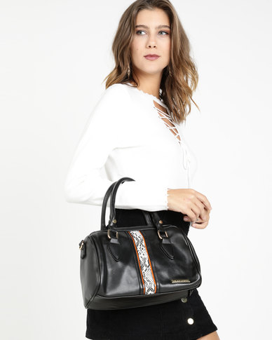 Blackcherry Bag Faux Snake Detail Bowlere Bag Black