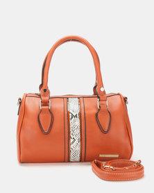 Blackcherry Bag Faux Snake Detail Bowlere Bag Tan