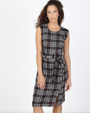 8a358df1ebbc Utopia Check Ponti Shift Dress Black Red