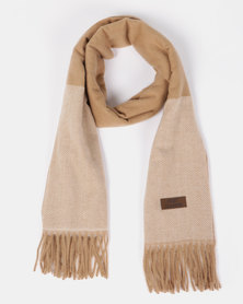 Blackcherry Bag Check Scarf Camel