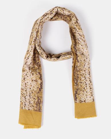 Blackcherry Bag Snake Print Scarf Yellow