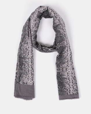Blackcherry Bag Snake Print Scarf Grey