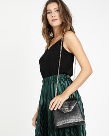 Blackcherry Bag Faux Croc Crossbody Bag Black
