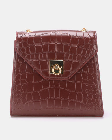 Blackcherry Bag Faux Croc CrossBody Bag Burgundy