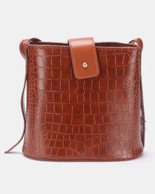 Blackcherry Bag Faux Croc Bucket CrossBody Bag Tan