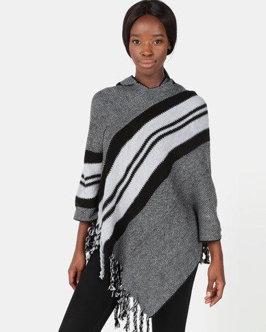 Blackcherry Bag Bold Stripe Poncho Grey