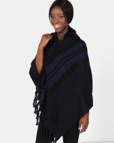 Blackcherry Bag Bold Stripe Poncho Blue