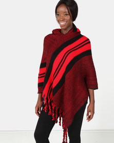 Blackcherry Bag Bold Stripe Poncho Red