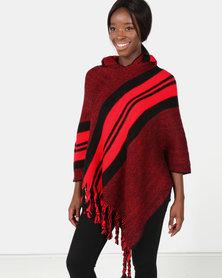 Blackcherry Bag Bold Stripe Poncho Red