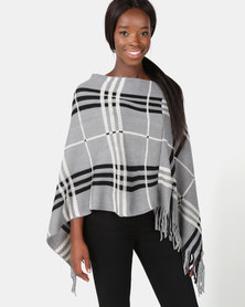 Blackcherry Bag Large Check Print Poncho Cream