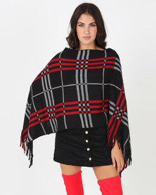 Blackcherry Bag Large Check Print Poncho Black