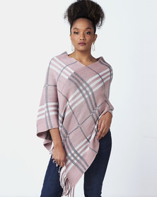 Blackcherry Bag Large Check Print Poncho Grey