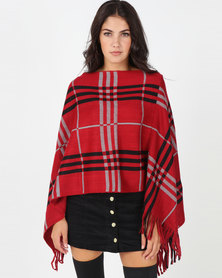 Blackcherry Bag Large Check Print Poncho Red