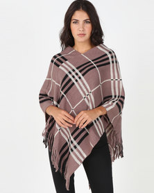 Blackcherry Bag Large Check Print Poncho Taupe