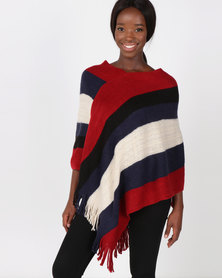 Blackcherry Bag Colour Block Poncho Red/Navy/ Cream/Black