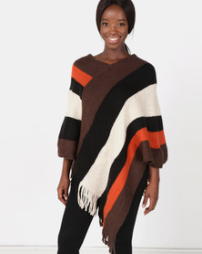 Blackcherry Bag Colour Block Poncho Orange/Black/ Cream/Taupe