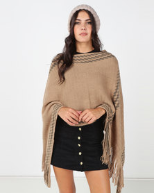 Blackcherry Bag Fringe Detail Poncho Khaki