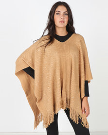 Blackcherry Bag Simple Poncho Beige