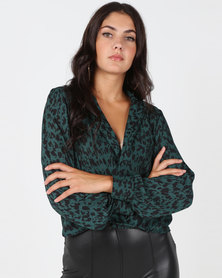 Utopia Animal Print Wrap Blouse Green