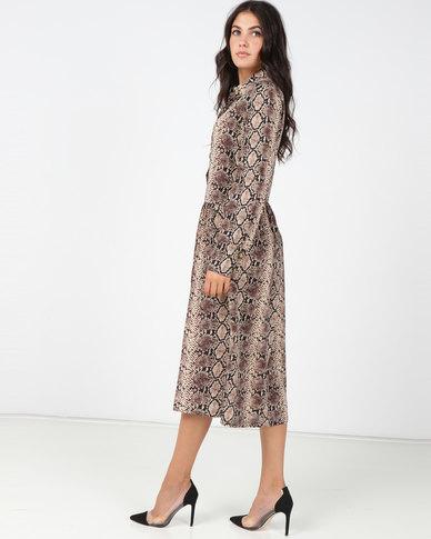 Utopia Viscose Shirt Dress Snake Print