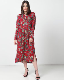 Utopia Viscose Print Shirt Dress Rust Floral