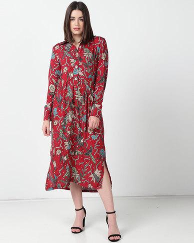 Utopia Viscose Print Shirt Dress Rust Floral