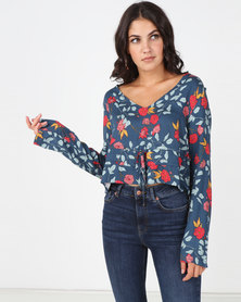 All About Eve Camellia Printed Rouched Blouse Mutli