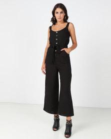 All About Eve Brazen Linen Jumpsuit Black