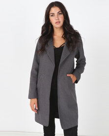 All About Eve Custom Zipper Melton Coat Charcoal