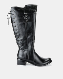 Pierre Cardin Lace Up Detail Riding Boot Black