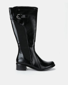 Pierre Cardin Elastic Inset Riding Boot Black