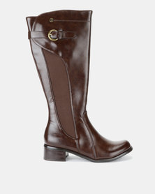 Pierre Cardin Elastic Inset Riding Boot Brown