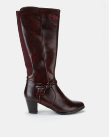 Pierre Cardin Elastic Gusset Heeled Boot Burgundy
