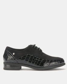 Pierre Cardin Fabric Combo Lace Up Black