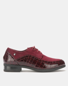Pierre Cardin Fabric Combo Lace Up Burgundy
