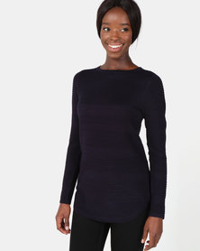 cath.nic By Queenspark Curved Ottoman Core Jersey Navy